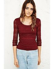 NEW Pins & Needles Lace Bodycon Top Burgandy Ladies Size Small Box1149 c
