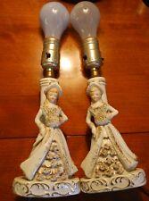 PAIR 2 LAMPS Vintage 50s GIRL GOLD SPARKLE DRESS Porcelain Table/ Bedside Japan