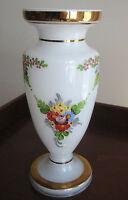 "Vintage Bohemian White Glass Vase  Handpainted Floral Design and Gilding  8 """