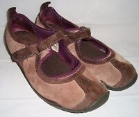 Merrell Circuit MJ Brown Purple OrthoLite Mary Jane Suede Shoes 7 Tri-Color