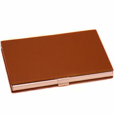 Classic Metal & Brown Leather Business Credit Card ID Case Box Holder Organizer