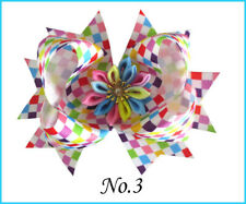 """12 BLESSING Girl 4.5"""" Lotus Hair Bow Clip Rainbow Flower Colorful Ribbon Baby"""