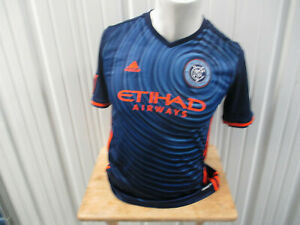 VINTAGE ADIDAS MLS NEW YORK F.C.YOUTH XL SEWN AWAY JERSEY 2016/17 KIT WOMEN'S