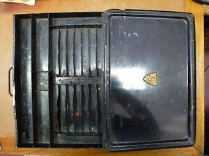 Vintage black metal artist paint pen art box tin Winsor Newton old 1920 1930