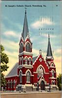 Vintage C. 1940's St. Joseph's Catholic Church Petersburg Virginia VA Postcard
