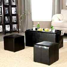 Coffee Table Ottoman Set Dining Storage Space with Tray Side Seats Furniture NEW