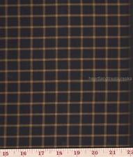 Dunroven House H-70S Primitive Homespun Black Mustard Lg Plaid Fabric 1/2 Yd Cut