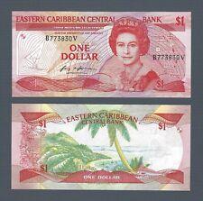 """EAST CARIBBEAN $1 Dollar 1985-88, St Vincent """"V"""", P-17v, Pack Fresh UNC, QEII"""