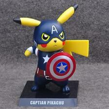 "Pokemon Pikachu Cosplay Captain America 6"" PVC Figure Toy Anime Collection Gift"
