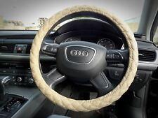 DOUX EPAIS cuir Voiture Van Housse de volant CROSS broderie 38cm beige