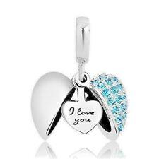 fb77ee0b2b9c Sterling Silver Heart I Love You Charm Bead PANDORA Blue Bracelet Necklace  GFT