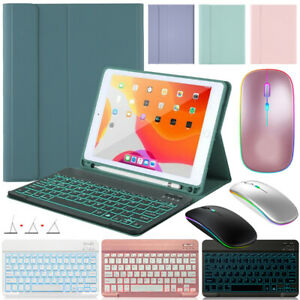 """For iPad 10.2"""" Air 10.9"""" Pro 11"""" 2021 Case with Backlit Bluetooth Mouse Keyboard"""