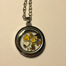 CHARLIE BROWN SNOOPY FLOATING CHARM GLASS LOCKET LIVING MEMORY STAINLESS STEEL