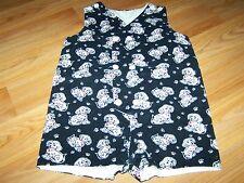 Size 3T Homemade Dalmatian Shortalls Romper Jon Jon Navy Blue Corduroy Print EUC