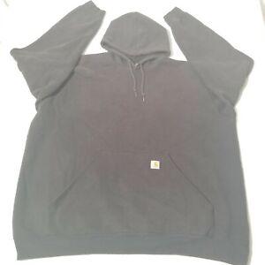 Carhartt Logo Black Hooded Sweatshirt Long Sleeve Midweight Mens 3XL TALL K288