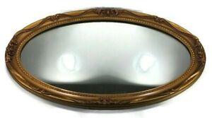 "Vintage Ornate Oval Wall Mirror J.A.Olson Company Permaflect Gold Frame 31""x19"""
