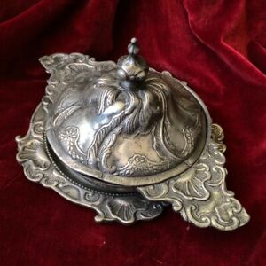 Polish pewter rococo form covered bowl & stand, c.1745