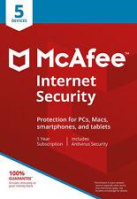 McAfee Internet Security 2018 5 PC/usuario/1 Año/Windows/Mac/Android