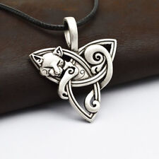 FM- Men Viking Jewelry Fox Triquetra Fenrir Animal Necklace Celtics Pendant Drea