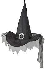 Negro Sombrero de bruja con tul NUEVO - CARNAVAL SOMBRERO GORRO SOMBRERO
