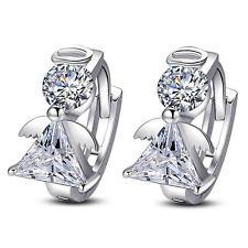 Elegant Charm Women 925 Silver Plated Angel Wings Ear Clip Hoop Earring Jewelry