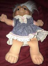 """Treasure Troll Doll Vintage 1991 Ace Novelty 12"""" Blue Jewel"""
