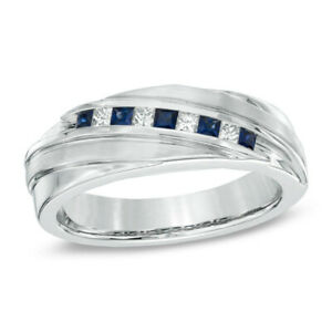 0.25Ct Princess Cut White & Blue Diamond Wedding Band Ring 925 Sterling Silver