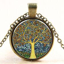 Keltischer Baum Des Lebens Cabochon Glas Bronze Kette AnhäNger Halskette Elegant