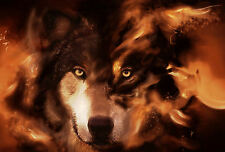 Framed Print - Grey Wolf Coming from the Flames (Picture Poster Fire Animal)