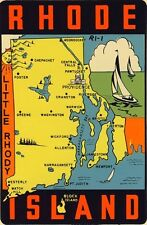 Vintage Travel Decal Replica Window Cling - Rhode Island