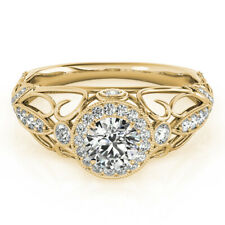 14K Yellow Gold 6 7 8 9 1.30 Ct Moissanite Anniversary Ring For Women Solid
