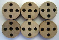 Wooden Tinker Toys Parts Lot: 6 Spools (5-Hole) Replacement Tinkertoy Pieces