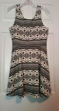 Divided By H & M BlackSleeveless Stretch Knit Tank Dress Aztec Print ~ Size 14