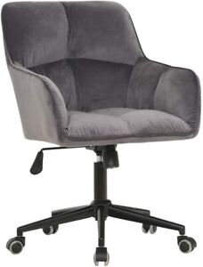 Swivel Office Chair Velvet Tufted Computer Home Mid Back Button Task Desk Chairs