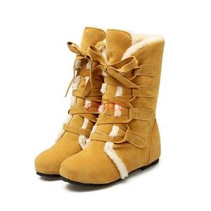 Womens Casual Lace Up Ankle Boots Winter Warm Fur Lined Hidden Wedge Heels Shoes