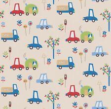 Car Print Children's Wallpaper Cars Trucks Trees Vehicles Kids Beige Erismann