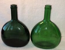 Vintage Pair Antique Dark Green Oval Bottles