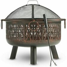 Fire Pit Decorative Brushed Bronze Steel with Spark Guard and Poker Barbecue