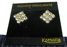 stone earrings approx 1 cm wide Lovely silver tone metal square white