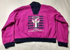 Ladies Vintage Nike International Fushcia Pink Reversible Windbreaker Size M