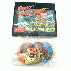 NEW 1993 Street Fighter II 2 Official Collector Caps Pogs Milk Capcom USA