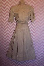 True Vintage Liz Claiborne Striped Shirtwaist Day Dress Size 10 Heavy Cotton