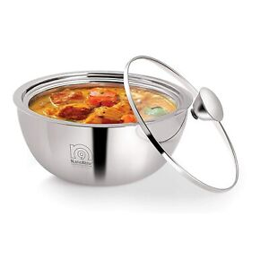 Stainless Steel Gravy Pot Double Wall Insulated Casserole with Glass Lid, 2.9 L