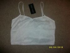 Ladies White Fully Lined Cropped Top Size 14 from New Look