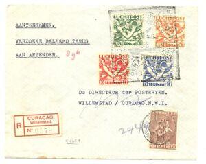 SURINAME 1934-21-12 REG FL COVER TO CURACAO - VICE VERSA --