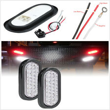 """2x 6"""" Truck Trailer Brake Light Turn Signal Sealed Marker LED Light White Lens"""