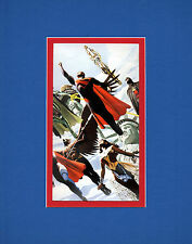 KINGDOM COME HEROES PATRIOTIC PRINT PROFESSIONALLY MATTED DC Alex Ross art