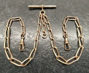 Antique Rolled Gold Graduated Large Curb Link Double Albert Pocket Watch Chain.