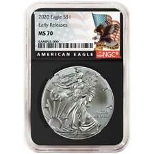 2020 $1 American Silver Eagle NGC MS70 Black ER Label Retro Core