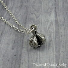 Silver Garlic Bulb Charm Necklace - Garlic Clove Ward off Vampire Jewelry NEW